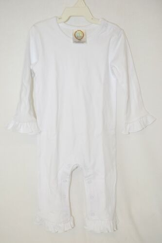 Blanks Boutique Long Sleeve White Snap Up Ruffled Romper 18 Months