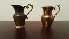 Two Miniature Brass Pitchers Unmarked/Unbranded 3 & 1/16-3 & 3/16 Inches Tall - $10.00