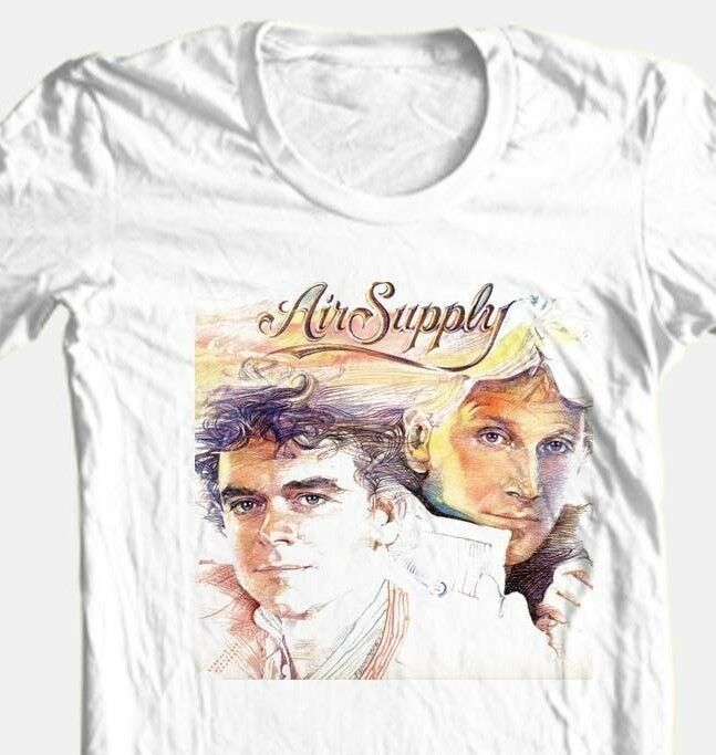 Air Supply T-shirt classic 80's retro soft rock 100% cotton graphic white tee