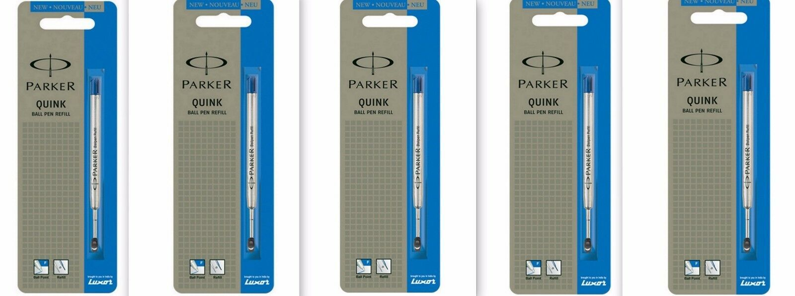 5 x Parker Quink Flow BallPoint Ball point Pen Refills BallPen Blue Fine New