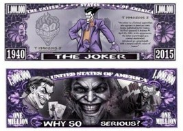 Pack of 25 - Joker Comic Superhero Collectible Novelty Dollar Bill - $9.89