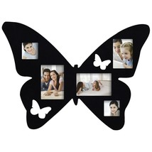 Adeco 5-Opening Black Butterfly Wood Wall Hanging Collage Photo Picture ... - $34.64