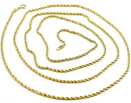 18K YELLOW GOLD CHAIN NECKLACE, BRAID ROPE LINK 31.5 INCHES, 80 CM MADE IN ITALY image 1