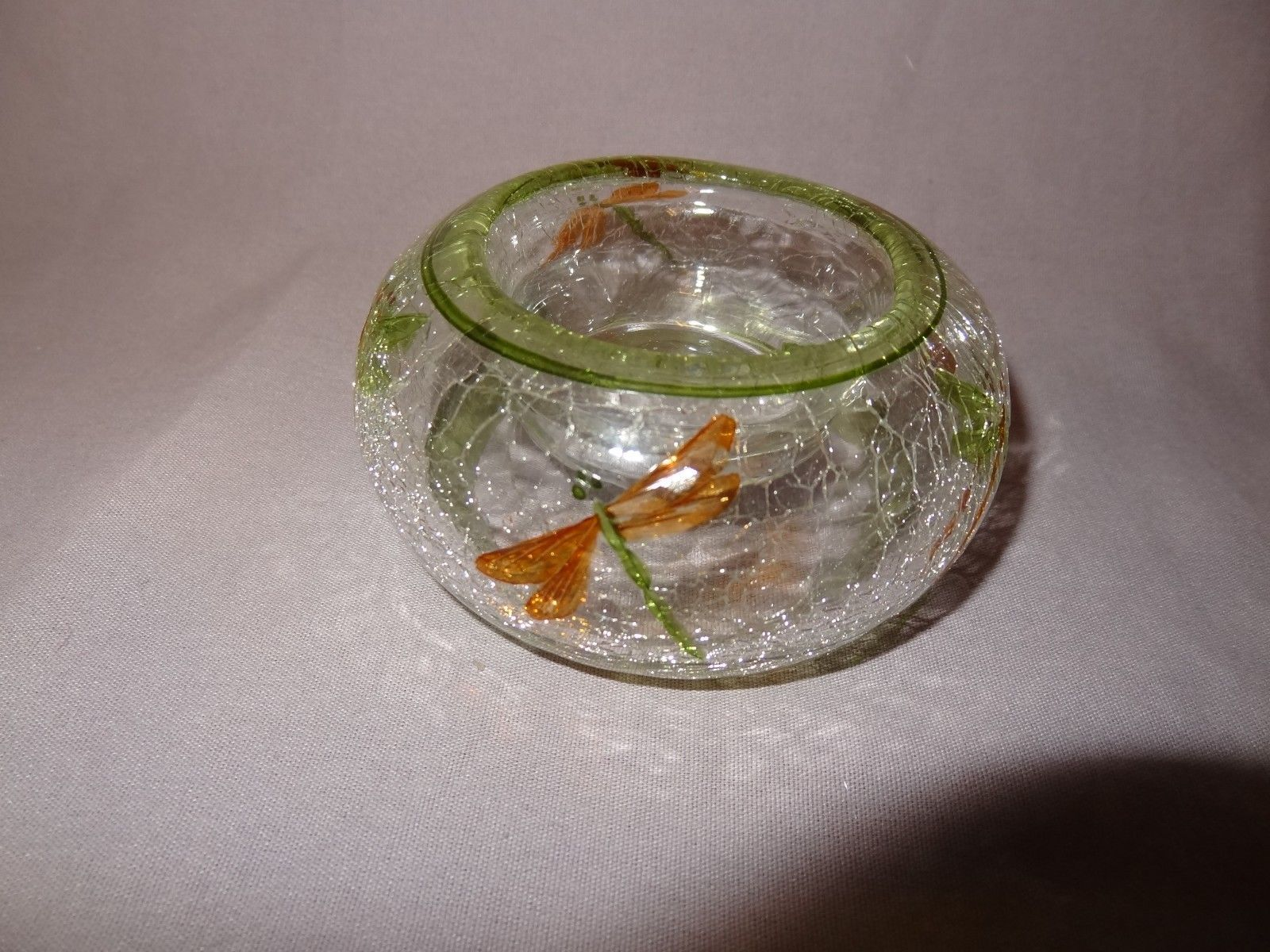 Dragonfly Tealight Candle Holder Clear Crackle Glass Orange Green Insects 1""