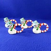 4 Vintage Fitz & Floyd SNOWMEN Napkin Rings Hand Painted Porcelain Snowman - $39.50