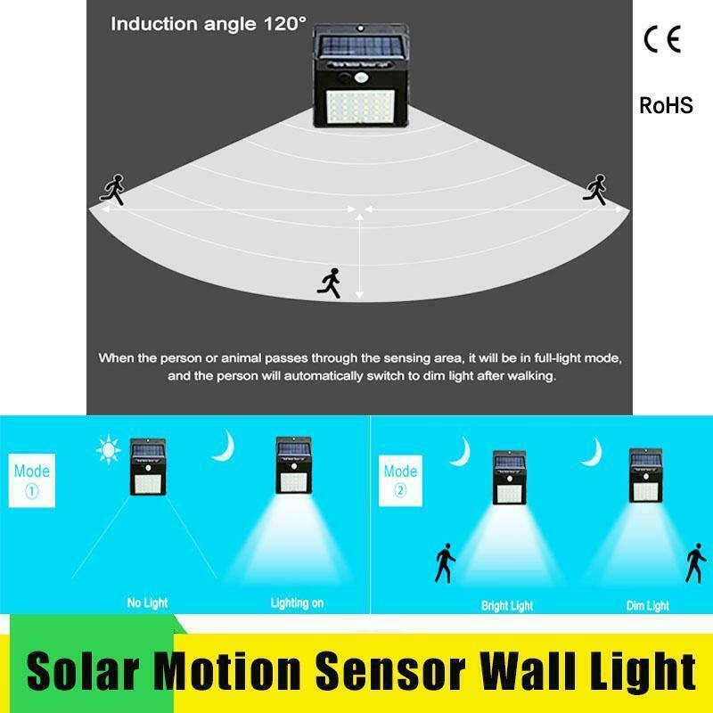 Led Solar Night Light PIR Motion Sensor Wall Light Waterproof 16/20/25/30 LEDs image 6