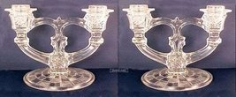 Indiana Glass Double Arm Candlesticks Big Loops - PAIR - $39.00