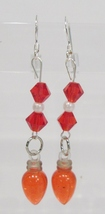 handmade Christmas red light bulb drop earrings - $9.00