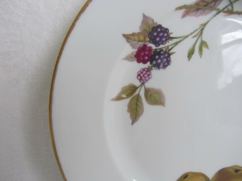 "2 Royal Worcester Evesham Gold Salad Plates 8"" Vtg Pear Peach Berry England"