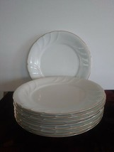 "Set of 8 Mikasa White Wedding Band Gold Dinner Plates 10.5"" L9709 - $84.14"