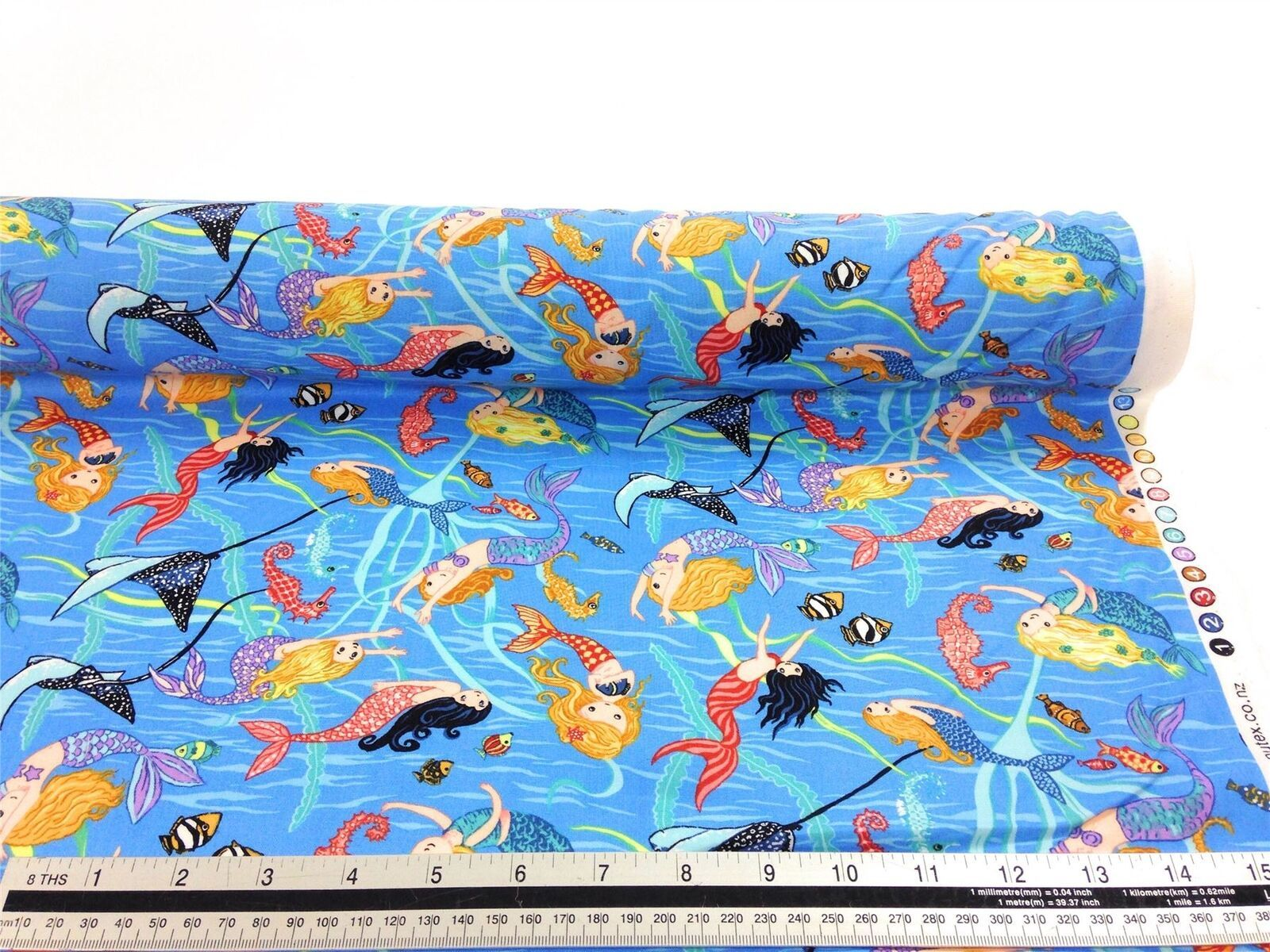 Swimming Mermaids Blue 100% Cotton High Quality Fabric Material 3 Sizes