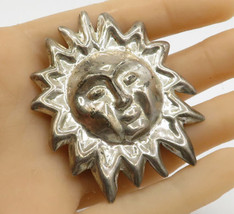 MEXICO 925 Sterling Silver - Vintage Sun Face Brooch Pin - BP1274 - $39.08