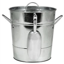 Ice Bucket Large, Insulated Galvanized Metal Ice Scoop Wine Ice Buckets ... - $37.99