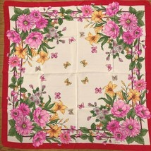 GUCCI Scarf Stole Floral Flower Butterfly Red Pink Silk Woman Auth Mint ... - $256.81