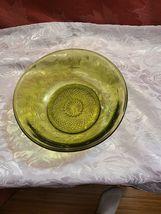 "Vintage Avocado Green Carnival Glass Fruit / Serving Bowl 7 1/2 "" x 7 1/2"" x 3"" image 9"