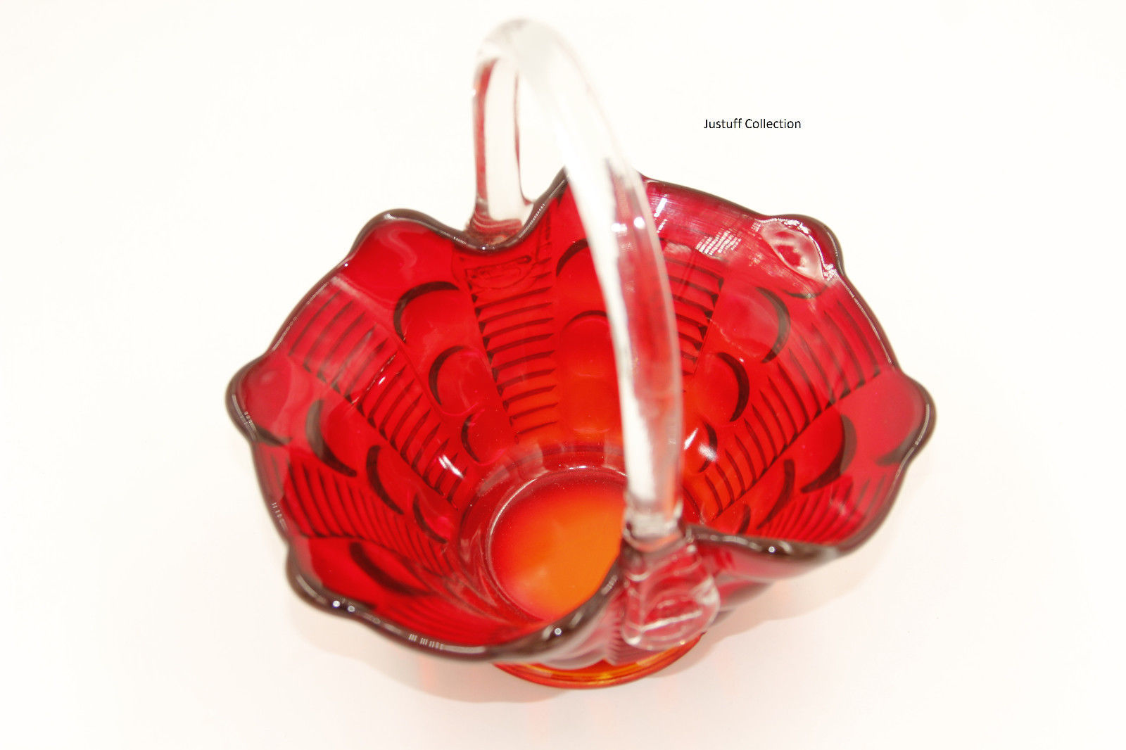 1960 vintage ruby red fenton thumbprint dimpled glass basket
