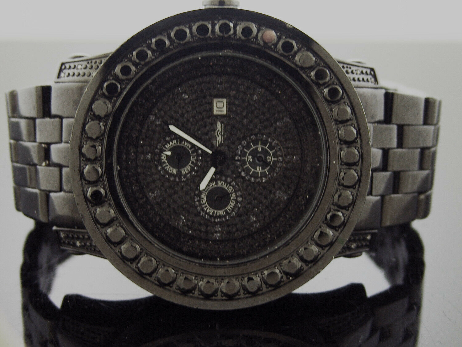 Primary image for king Master Swiss Movt quartz Round genuine Diamonds 52 MM Black Watch