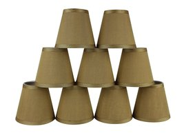 Urbanest Set of 9 Gold Silk Mini Chandelier Lamp Shade, 3-inch by 5-inch by 4.5- - $49.49
