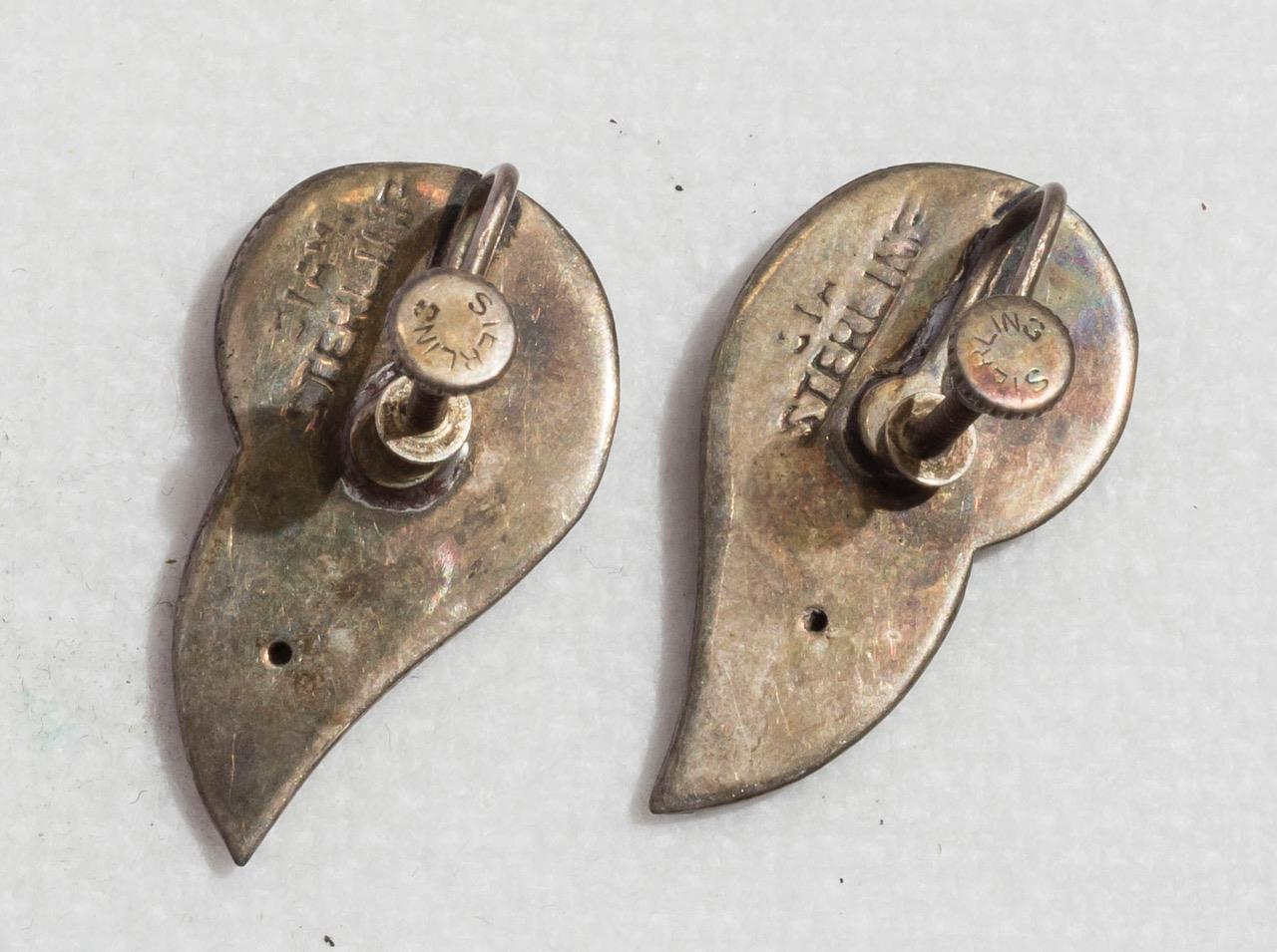 Vintage Sterling Silver Screw On Clip On Earrings Jewelry jds image 2