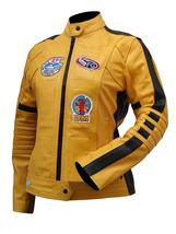 Womens The Bride Kill Bill Uma Thurman Biker Yellow Leather Jacket image 2