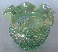 VTG FENTON ART GLASS 95TH ANNIVERSARY GREEN IRIDIZED OPALESCENT ROSE BOW... - $65.00
