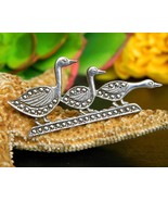 Vintage Trio Ducks In A Row Sterling Silver Marcasite Brooch Pin Geese - $27.95