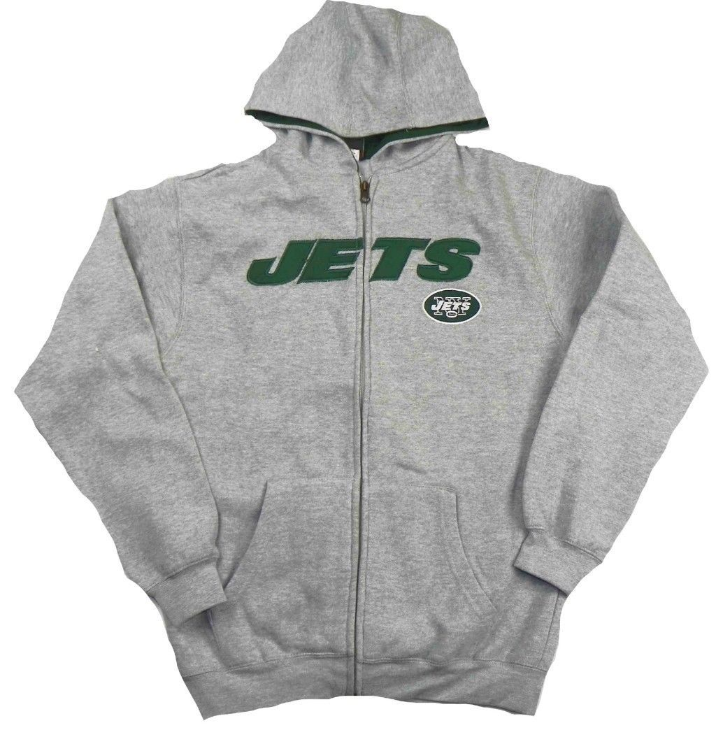 Boy's 8-20 New York Jets Hoodie Stated Full Zip Hooded Sweatshirt Youth Grey