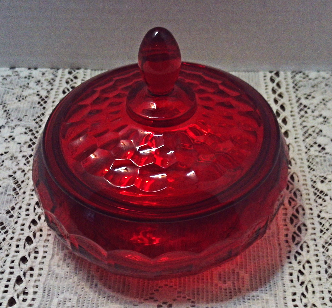 Vintage VIKING GLASS Ruby Red Thumbprint Pattern Candy Dish Mid Century Glass