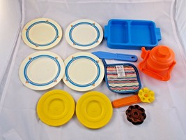 """Fisher Price Kitchen Dishes Utensils Plates Hot Pad 4"""" Other Teapot Pret... - $20.87"""