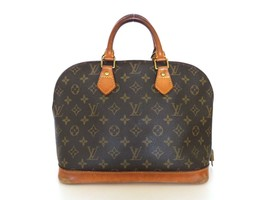 Authentic LOUIS VUITTON Monogram Canvas Leather Alma Handbag Bag - $311.31