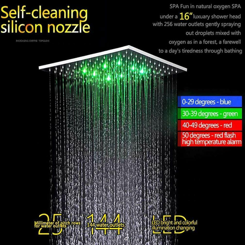 "Primary image for Ceiling Mounted Rainfall LED Shower Body Jets Stainless Steel 16"" Brushed Nickel"