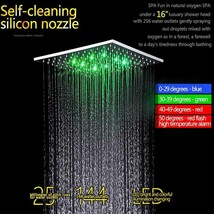 "Ceiling Mounted Rainfall LED Shower Body Jets Stainless Steel 16"" Brushe... - $1,415.69"