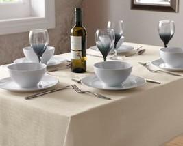 "Cream Linen Look Tablecloth 135CM X 135CM (53"" X 53"") Square - $8.36"