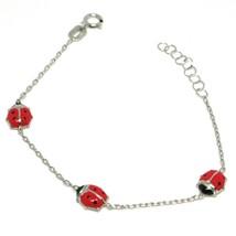 Bracelet White Gold 18K 750, for Girl, Ladybugs Glazed Tiles, Length 14 CM image 1