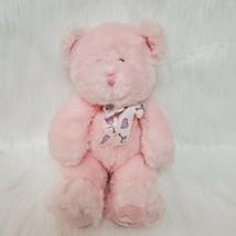 "10"" Russ Berrie Buffie Bear Pink Rattle Baby Plush Stuffed Toy Lovey  B219 - $14.97"