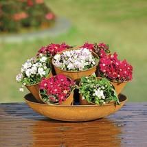 Farmhouse  Seven-Pot Planter Rustic Metal Garden Basket Flower 8.5''H - $50.00