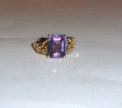 10K Yellow Gold Purple Amethyst Octagon Solitaire Ring, Size 7, 2.75(TCW... - $175.00