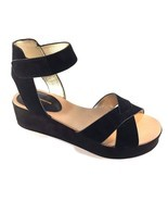 BCBGeneration Fabelle Black Suede Leather Wedge Sandals Size 8 - $48.30
