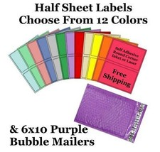 6x10 ( Purple ) Poly Bubble Mailers + Half Sheet Self Adhesive Shipping ... - $2.99+