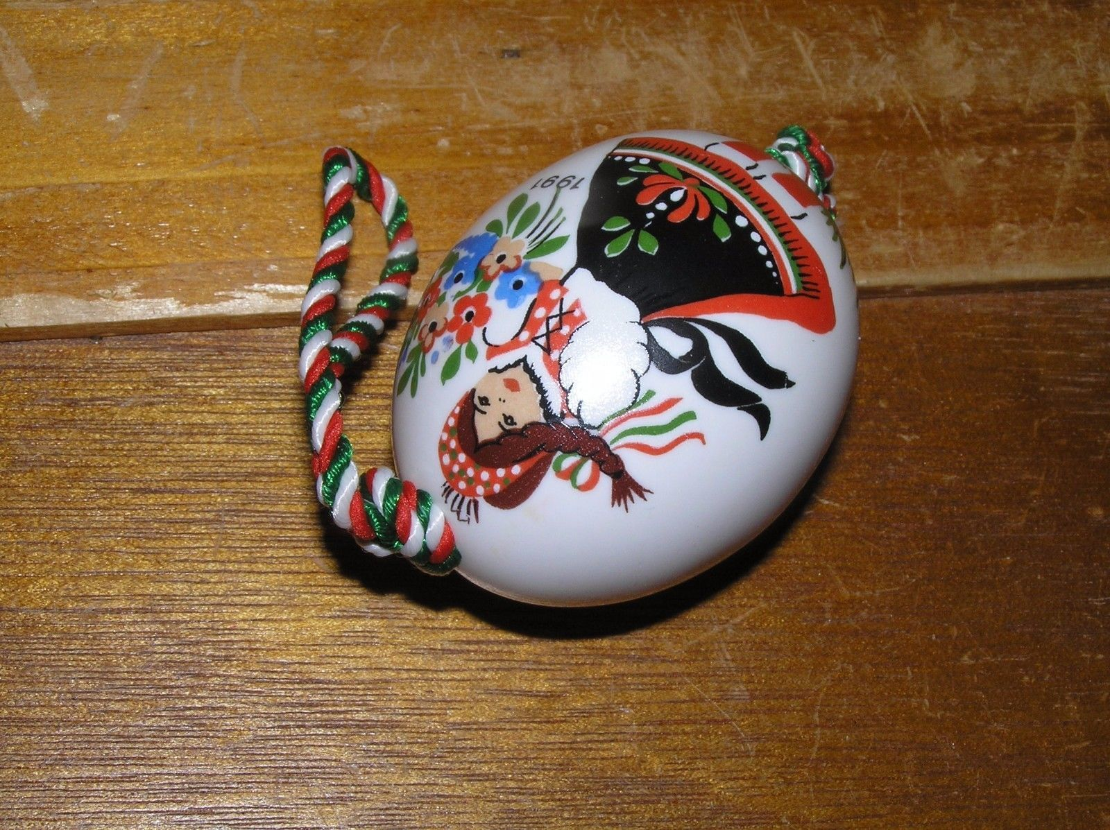 Vintage Hand Painted in Hungary Porcelain Egg Two-Sided Young & Old Woman Christ image 3