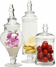 Nice 3 Piece Glass Elegant Modern Decor Food Trinket Storage Jars Canist... - $99.00