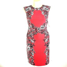 NEW 12 Large Dress R&K Sheath Coral White Black Floral Stretch Career Se... - $19.95