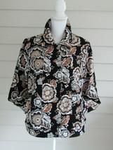 Isaac Mizrahi Live! Vintage Multi Color Floral Print Knit Jacket Size Medium - $24.74