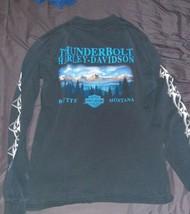 HARLEY DAVIDSON T-Shirt Thunderbolt Butte, Montana Black Size Medium Lon... - $14.99