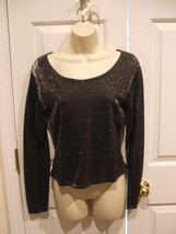 New in  pkg black/silver lurex top t size small - $8.90