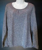 Laura Ashley GUNMETAL Gray / Silver KNIT TOP Sz Medium NWT Long Sleeve M... - $14.00