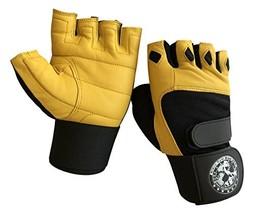 Nibra Gym Wear USA Gym Gloves Beige/Black with 12 inch Wrist Support (La... - $25.68