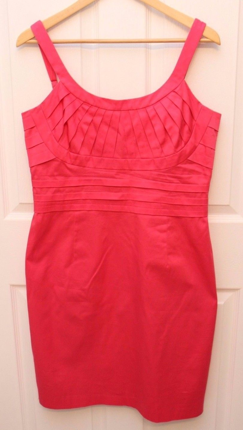 Primary image for Calvin Klein  Women's Sheath Pleated Bust Detailing Dress Size 12 Coral Pink