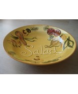 Vintage 1970s Los Angeles Pottery Large Yellow Salad Serving Bowl Hand P... - $128.65