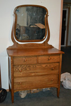 Antique  Oak Bedroom Dresser  Chest   Mirror  Brass locks /  key - $324.71